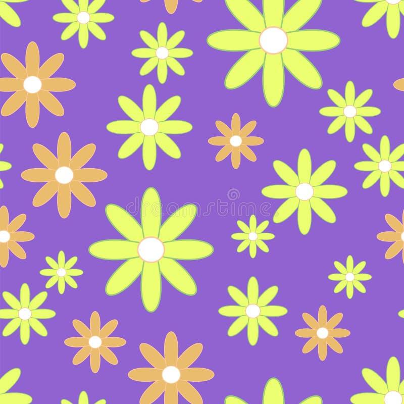 Golpeteo inconsútil del vector con las flores planas Fondo con los camomiles amarillos y anaranjados libre illustration