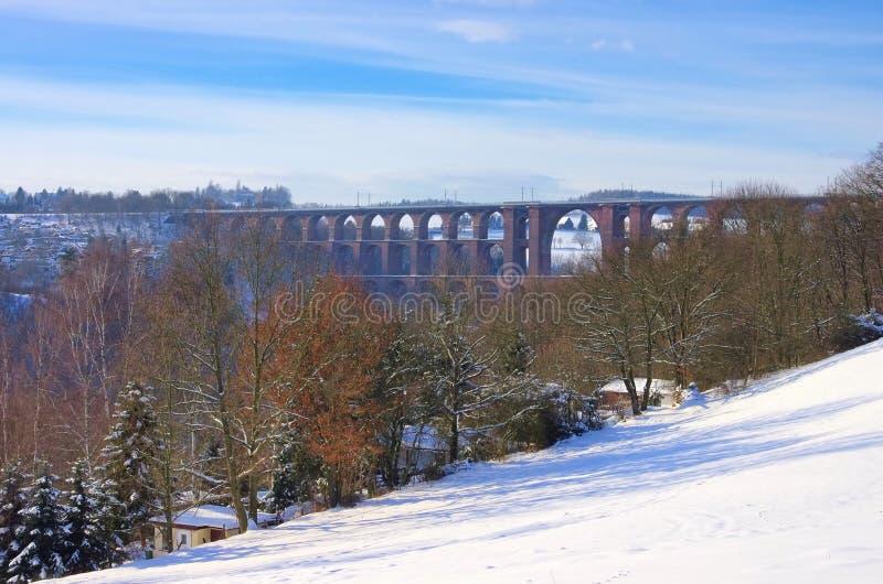 Goltzsch Valley Bridge In Winter Stock Photo