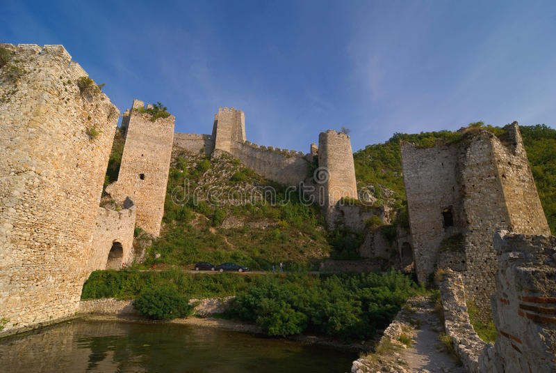 Golubac castle on Danube river in Serbia stock images