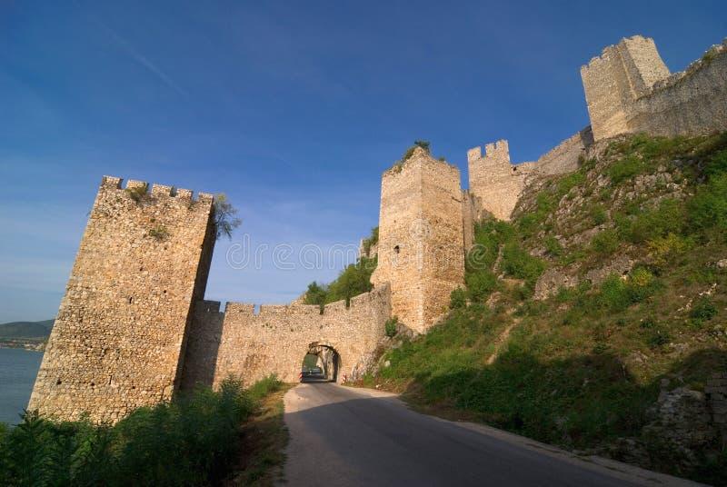 Golubac castle on Danube river in Serbia royalty free stock image
