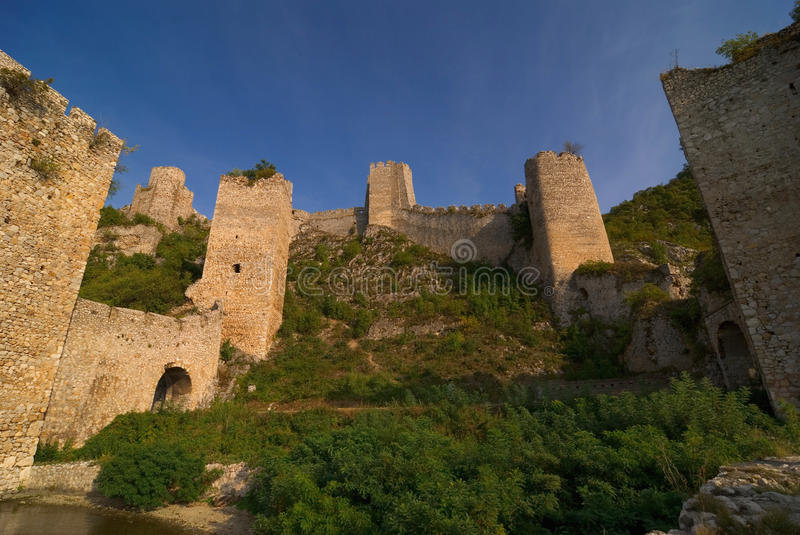 Golubac castle on Danube river in Serbia stock photography