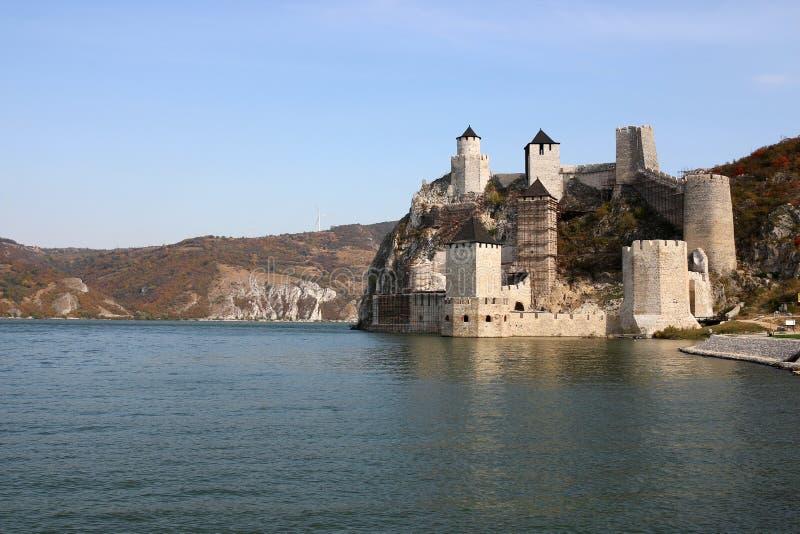 Golubac fästning på Danube River höstsäsonglandskap royaltyfri foto