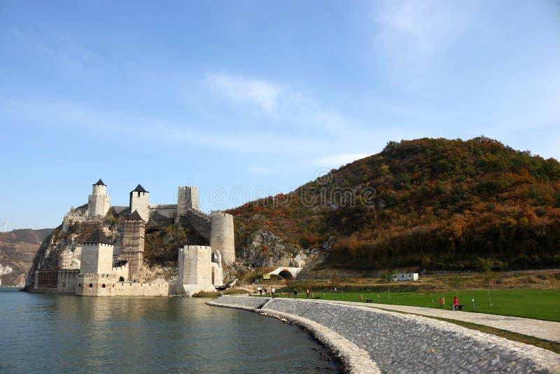 Golubac fästning på Donauhöstsäsonglandskap arkivbilder