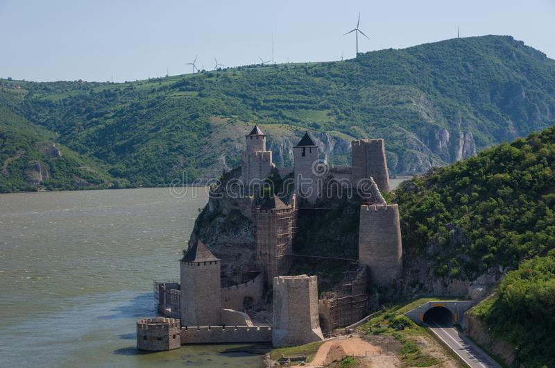 Golubac fortress / castle, built in the 14th century, on the ban royalty free stock images