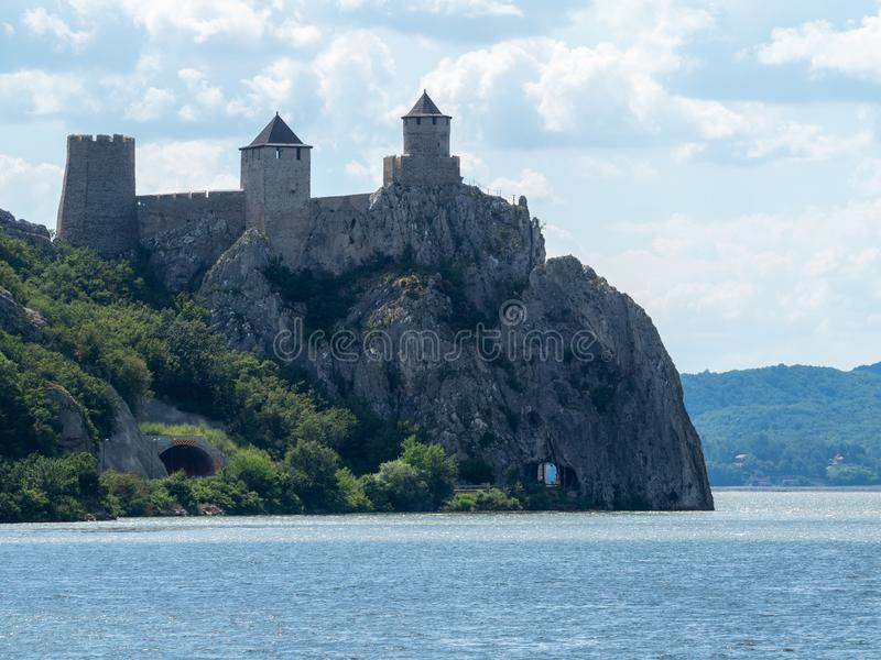 Golubac Fortress Serbia. Golubac/Serbia - July 11 2019: Golubac Fortress. This was a medieval fortified town on the south side of the Danube River. It was stock image