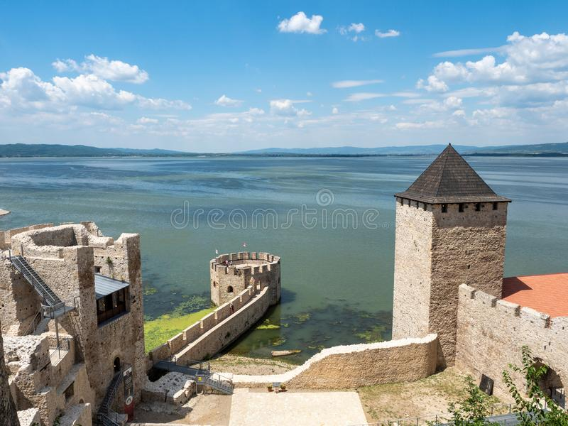 Golubac Fortress, Serbia. Golubac/Serbia - July 23 2019: Golubac Fortress. This was a medieval fortified town on the south side of the Danube River. It was stock photos