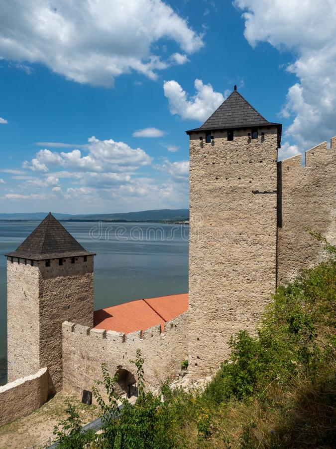 Golubac Fortress, Serbia. Golubac/Serbia - July 23 2019: Golubac Fortress. This was a medieval fortified town on the south side of the Danube River. It was stock images