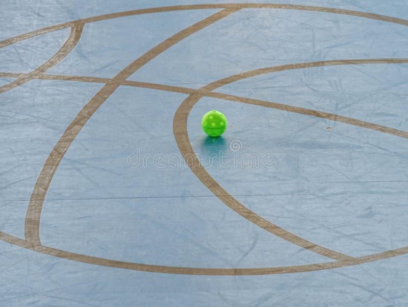 Golv-boll lekplats, utrustning med det m?lade golvet, floorballdomstol royaltyfria foton