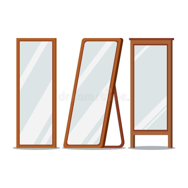 Golvavspeglar träramar den rektangulära formuppsättningen royaltyfri illustrationer