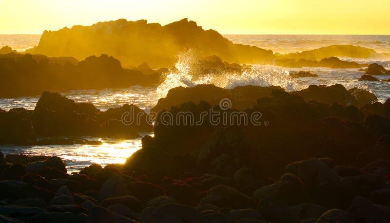 Golven die dichtbij Monterey, Californië verpletteren stock foto's