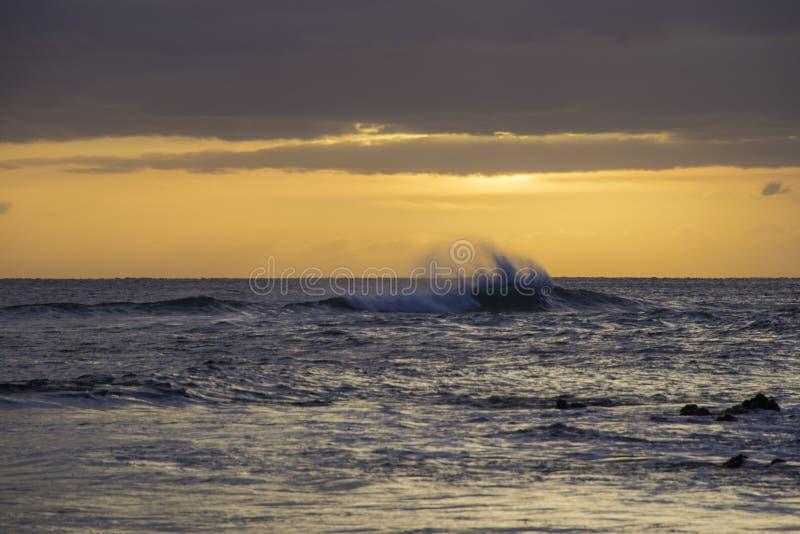 Golven die het Eiland Maui afbreken stock afbeeldingen