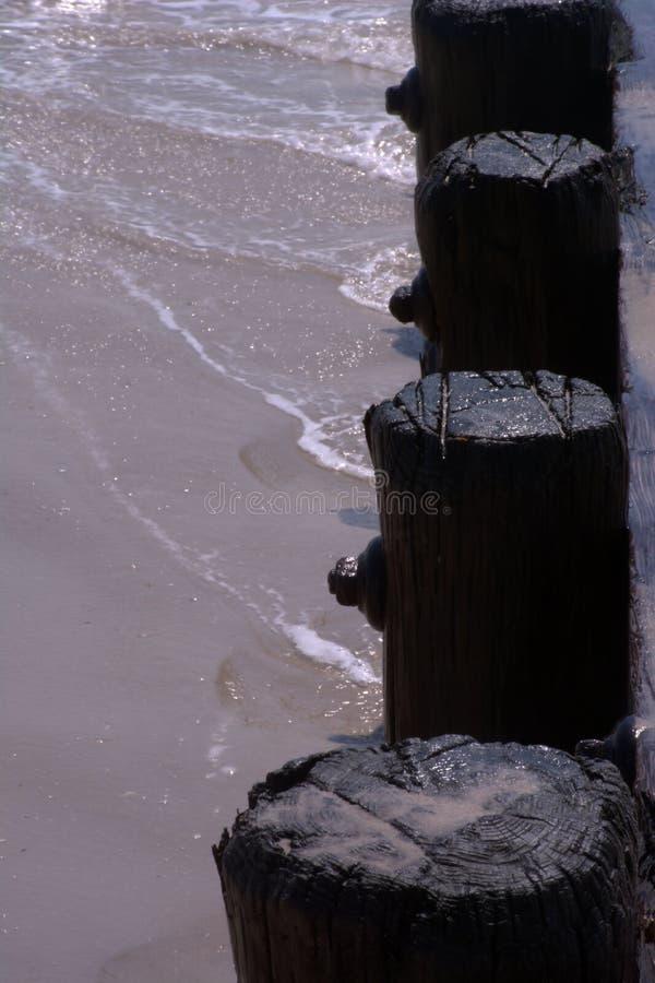 Golven die omhoog tegen zich het Houten Strand Opstapelen wassen stock afbeeldingen