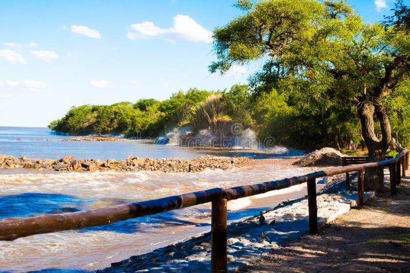 Golven die op de kust, kust verpletteren van de ecologische reserve van Puerto Madero royalty-vrije stock afbeelding