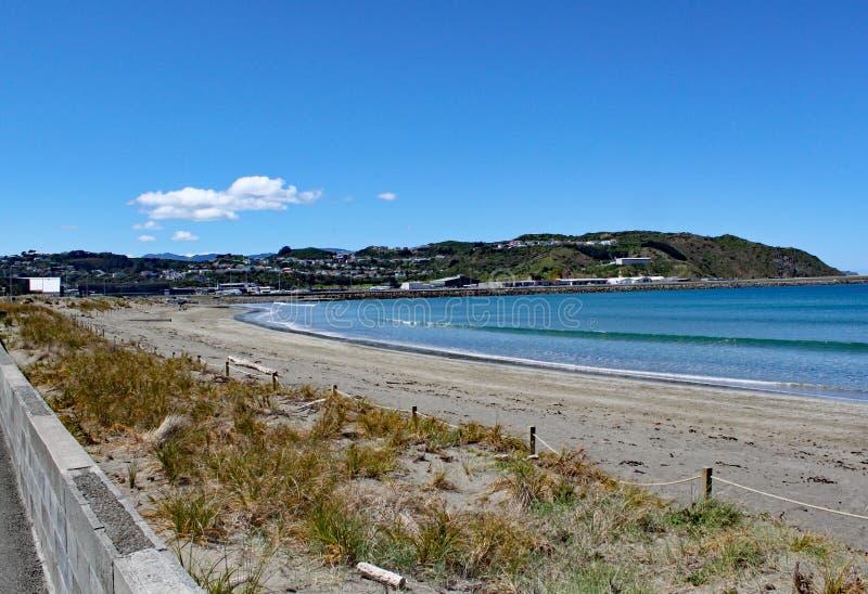 Golven die zacht op het strand bij Lyall-Baai dichtbij Wellington, Nieuw Zeeland wassen royalty-vrije stock foto