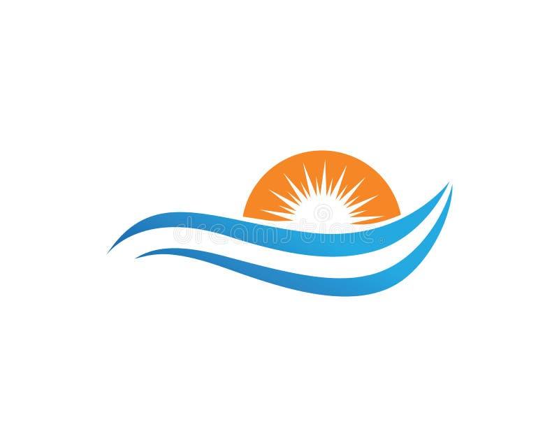 Golven en zon in strandembleem en van het symbolenmalplaatje pictogrammen app stock illustratie