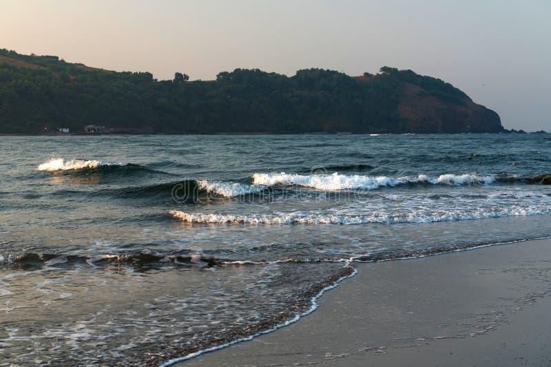 Golven op Overzeese mening in Goa, India royalty-vrije stock fotografie