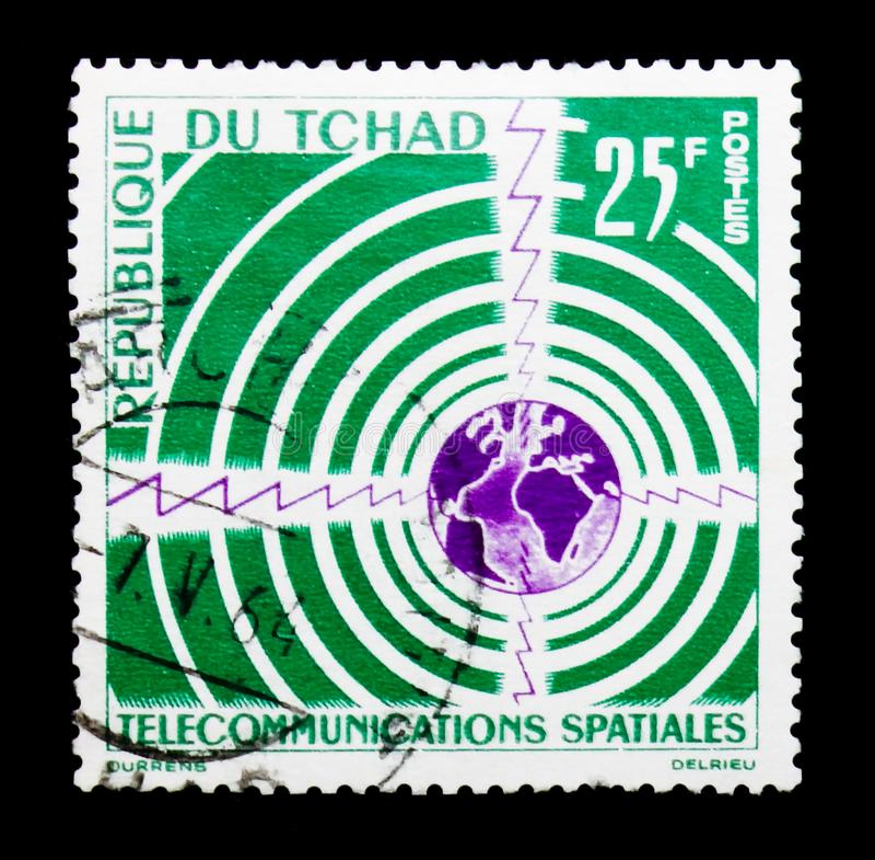 Golven rond Bol, Ruimtecommunciations serie, circa 1963 royalty-vrije stock afbeeldingen