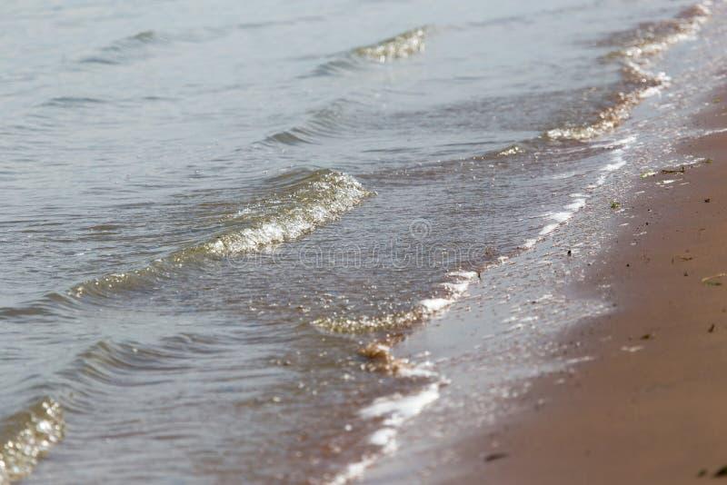 Golven van water op de zandige kust van het meer stock fotografie