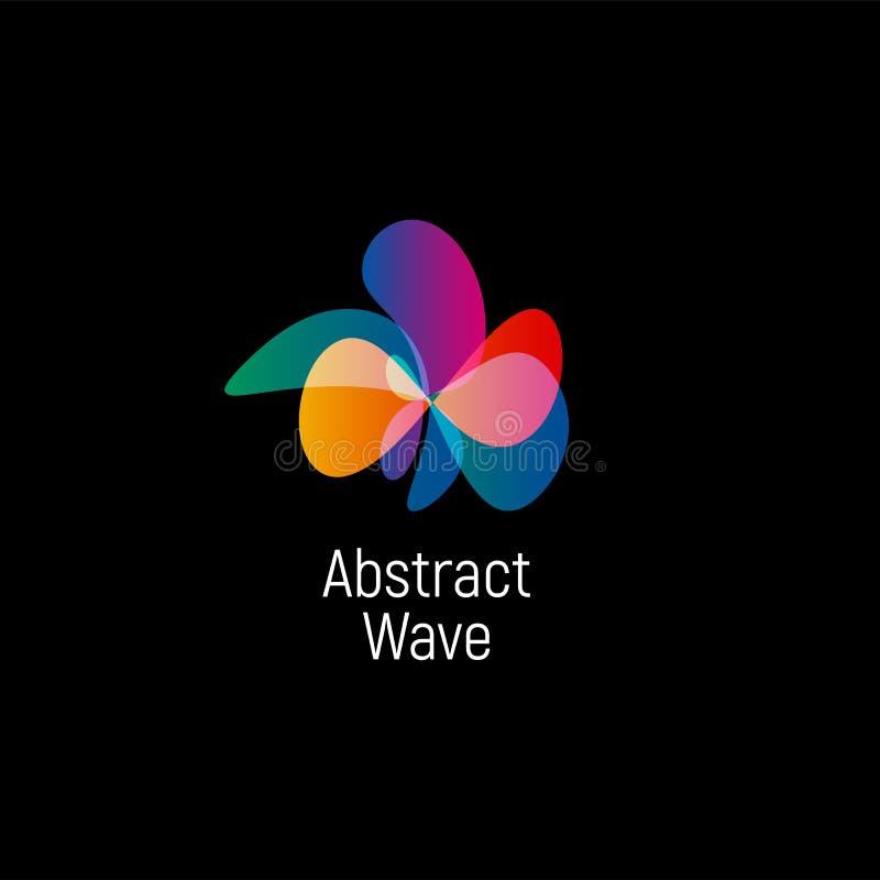 Golvend abstract vectorembleem Vlotte gradiënten en kleurrijke kosmische en geavanceerd technische ovale vormen royalty-vrije illustratie