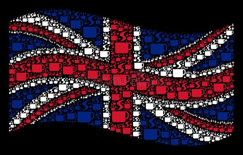 Golvend Brits Vlagmozaïek van de Hete Punten van de Koffiekop stock illustratie