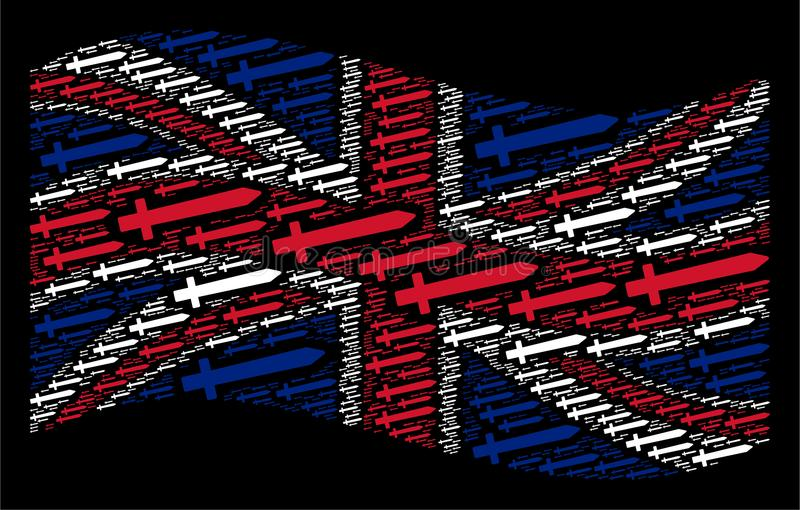 Golvend Brits Vlagmozaïek van Zwaardpictogrammen vector illustratie