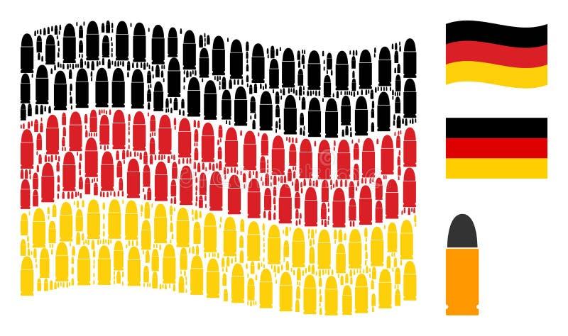 Golvend Duits Vlagpatroon van Munitie-Kogelpictogrammen royalty-vrije illustratie