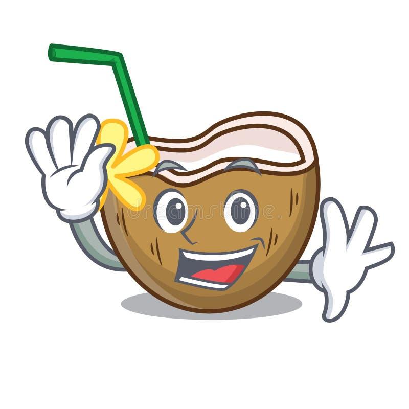 Golvend het karakterbeeldverhaal van de cocktailkokosnoot stock illustratie