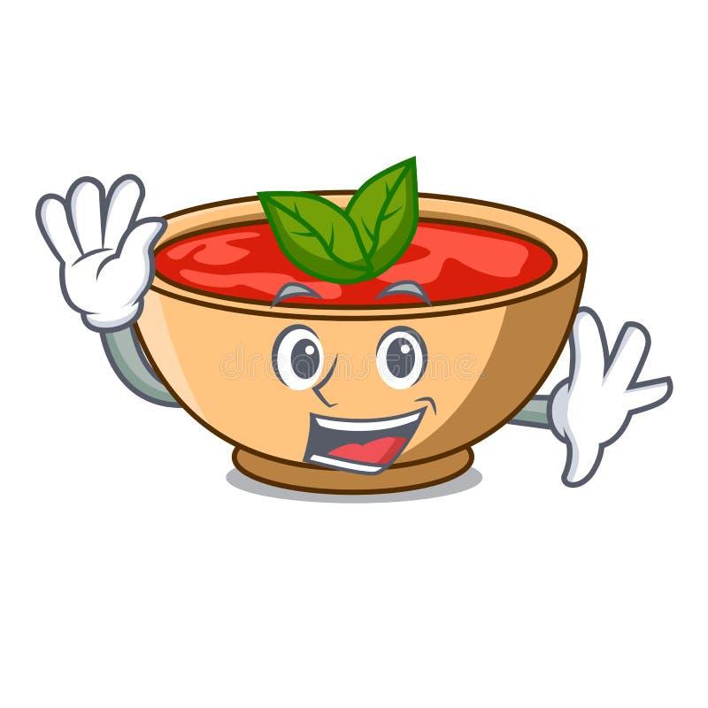Golvend het karakterbeeldverhaal van de tomatensoep royalty-vrije illustratie