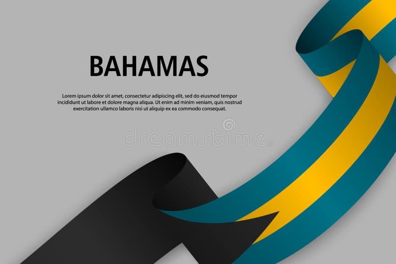 Golvend lint met Vlag van de Bahamas, stock illustratie