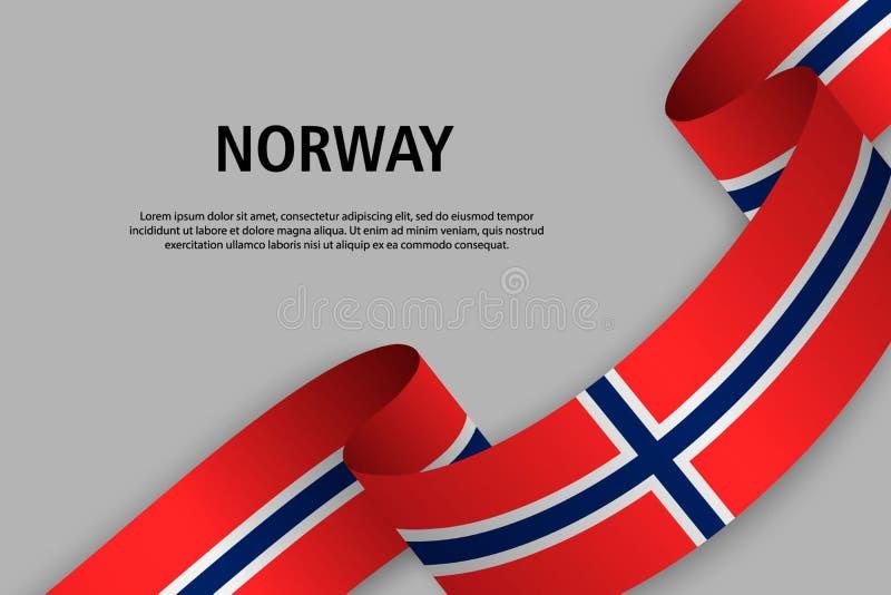 Golvend lint met Vlag van Noorwegen, stock illustratie