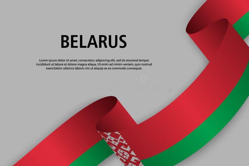 Golvend lint met Vlag van Wit-Rusland, vector illustratie