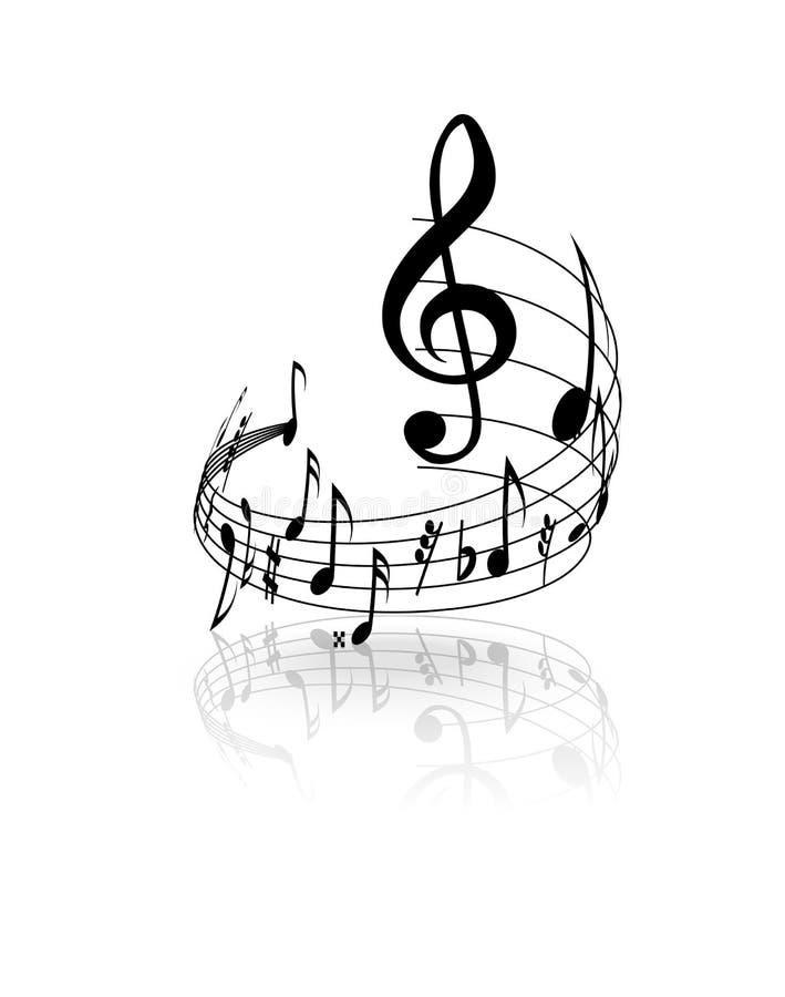 Golvend muzikaal personeel met nota's over een witte achtergrond Vector vector illustratie
