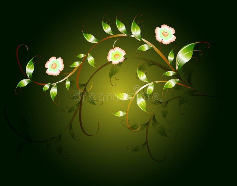 Golvend patroon van mooie groene bloemen op een donkere basis EPS10 illustratie vector illustratie