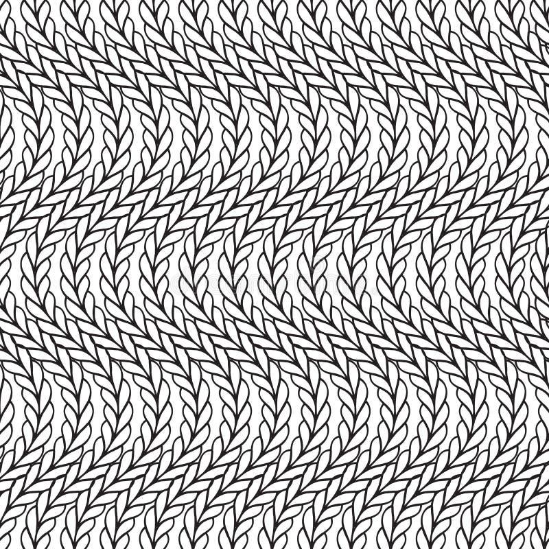 Golvend zwart-wit gebreid naadloos patroon Sierabstra stock illustratie