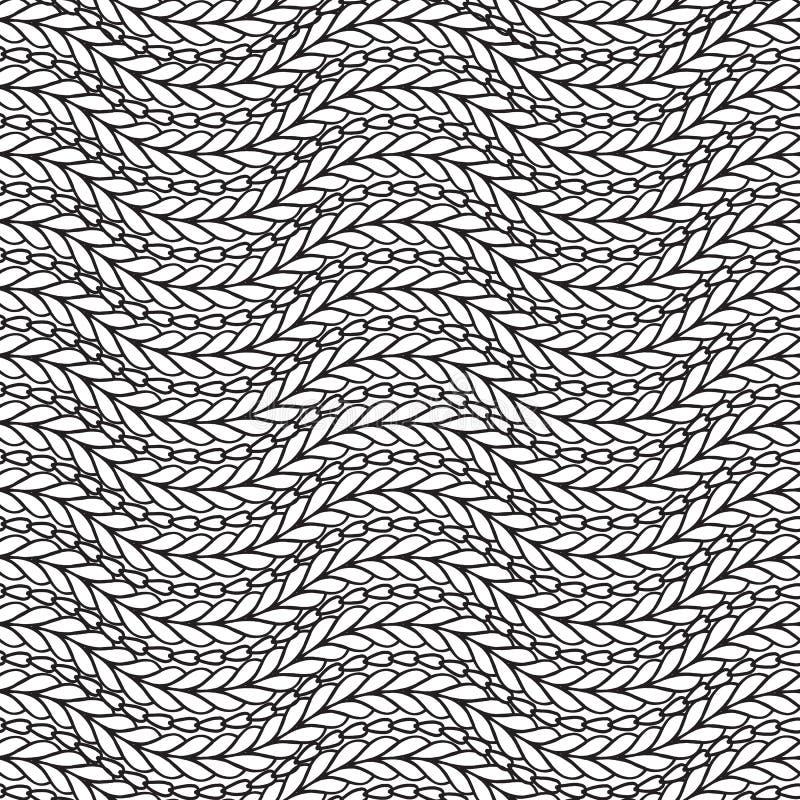 Golvend zwart-wit gebreid naadloos patroon Sierabstra royalty-vrije illustratie