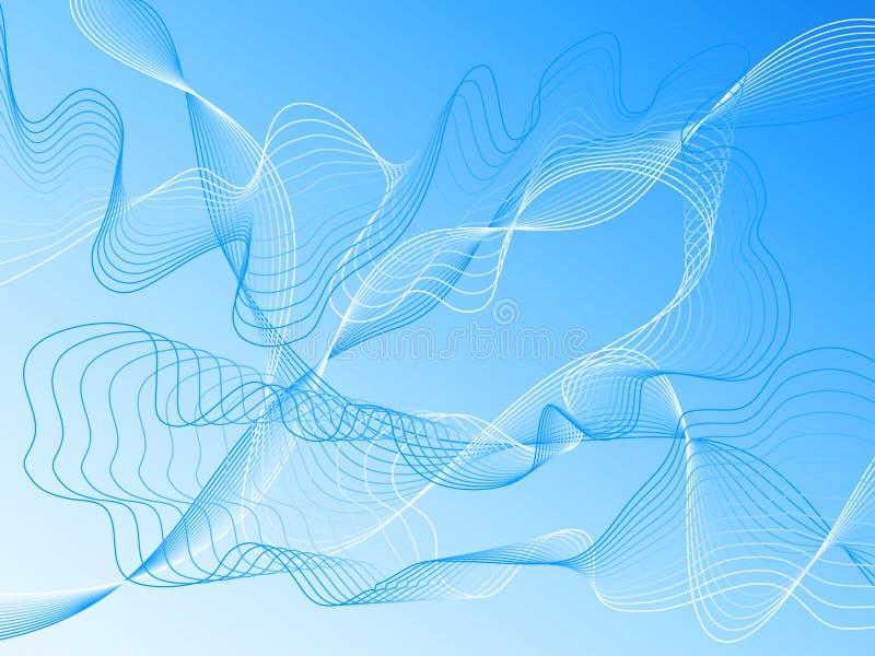 Golvende blauwe vectorlijnen stock illustratie