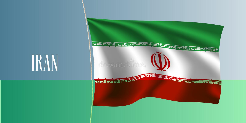 Golvende de vlag vectorillustratie van Iran Iconisch ontwerpelement vector illustratie