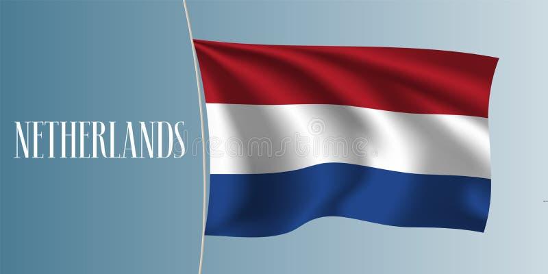 Golvende de vlag vectorillustratie van Nederland royalty-vrije illustratie