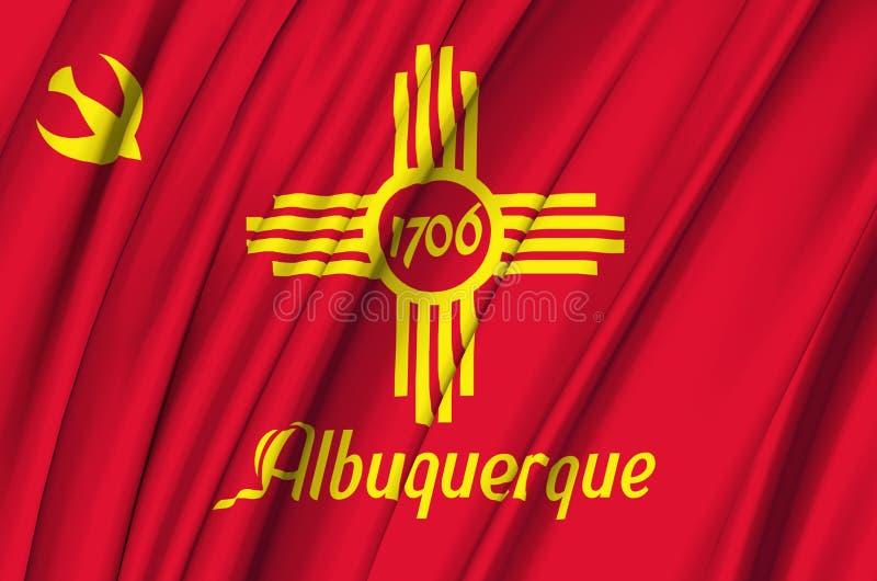 Golvende de vlagillustratie van Albuquerque New Mexico stock illustratie