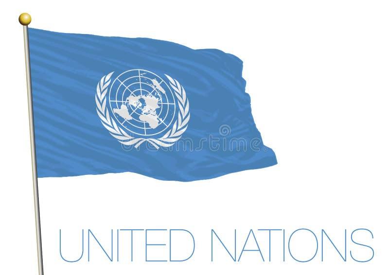 Golvende die vlag van de Verenigde Naties op witte achtergrond worden geïsoleerd stock illustratie