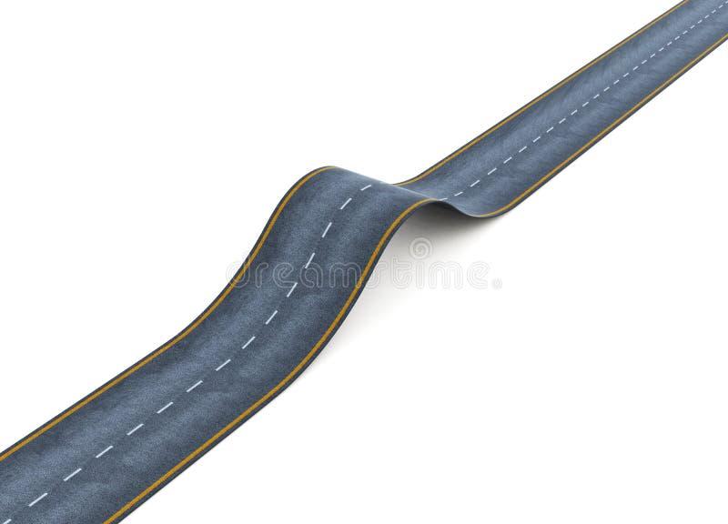 Golvende die weg op witte achtergrond wordt geïsoleerd het 3d teruggeven stock illustratie