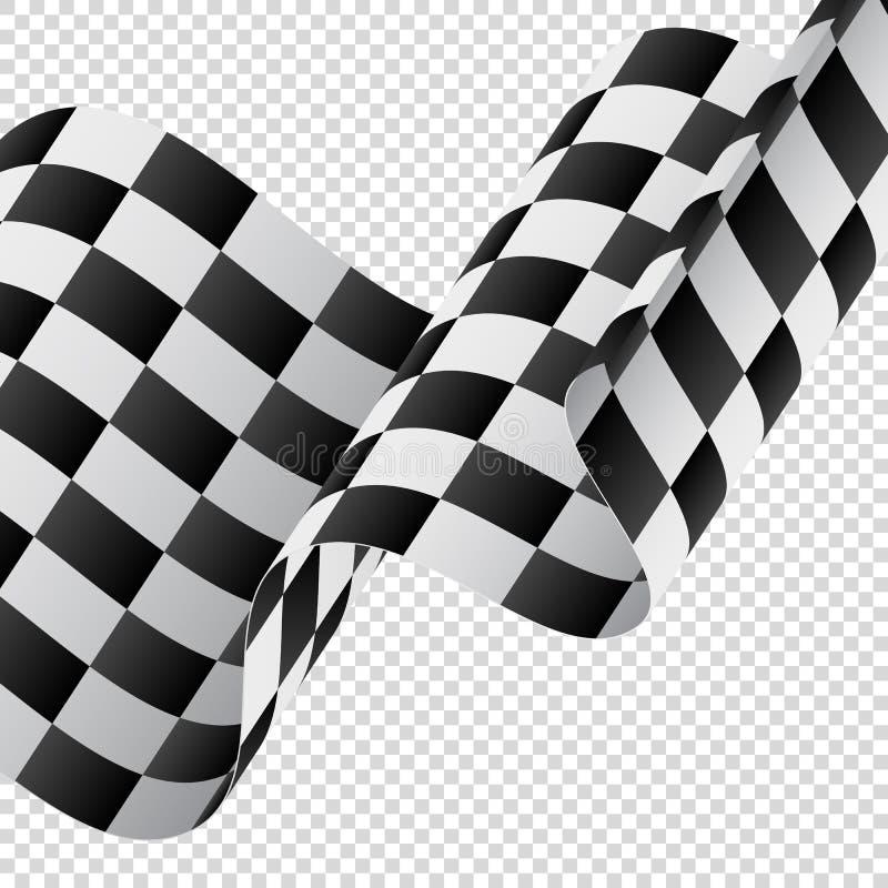 Golvende geruite vlag op transparante achtergrond Rennende vlag Vector illustratie stock illustratie
