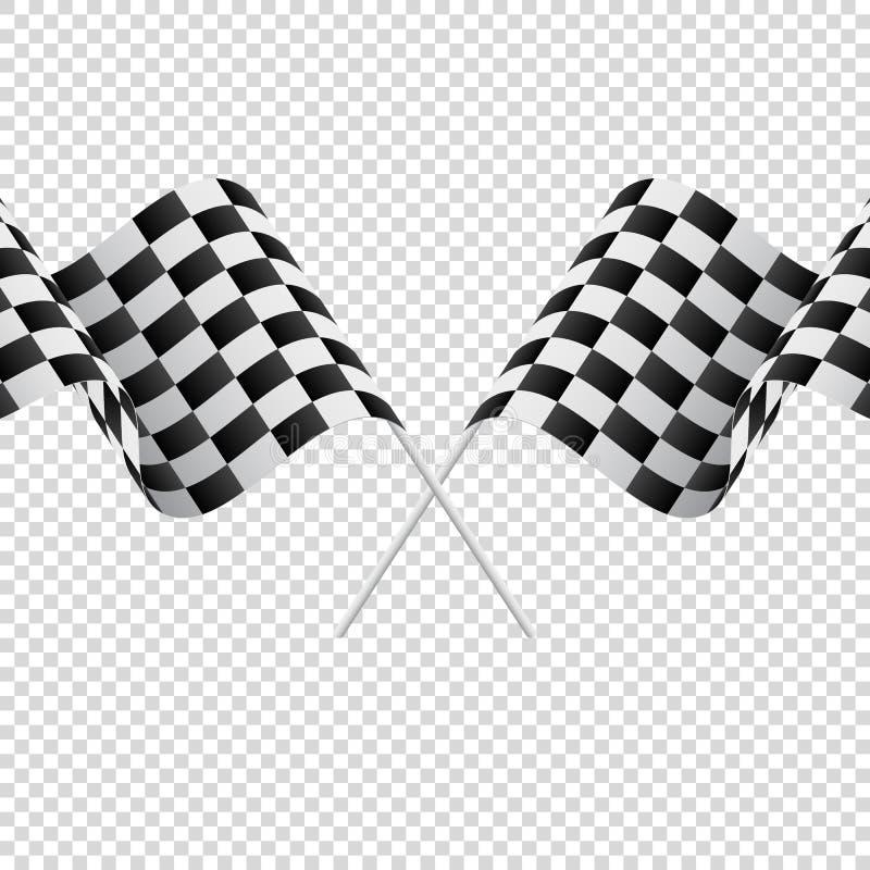 Golvende geruite vlaggen op transparante achtergrond Rennende vlaggen Vector illustratie stock illustratie