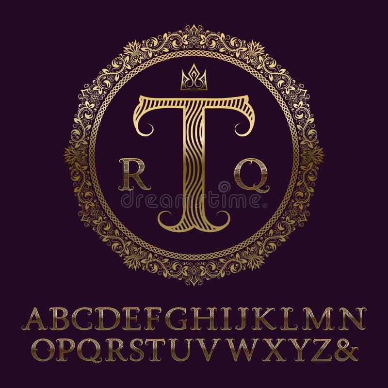 Golvende gevormde gouden brieven met aanvankelijk monogram Elegante doopvont royalty-vrije illustratie