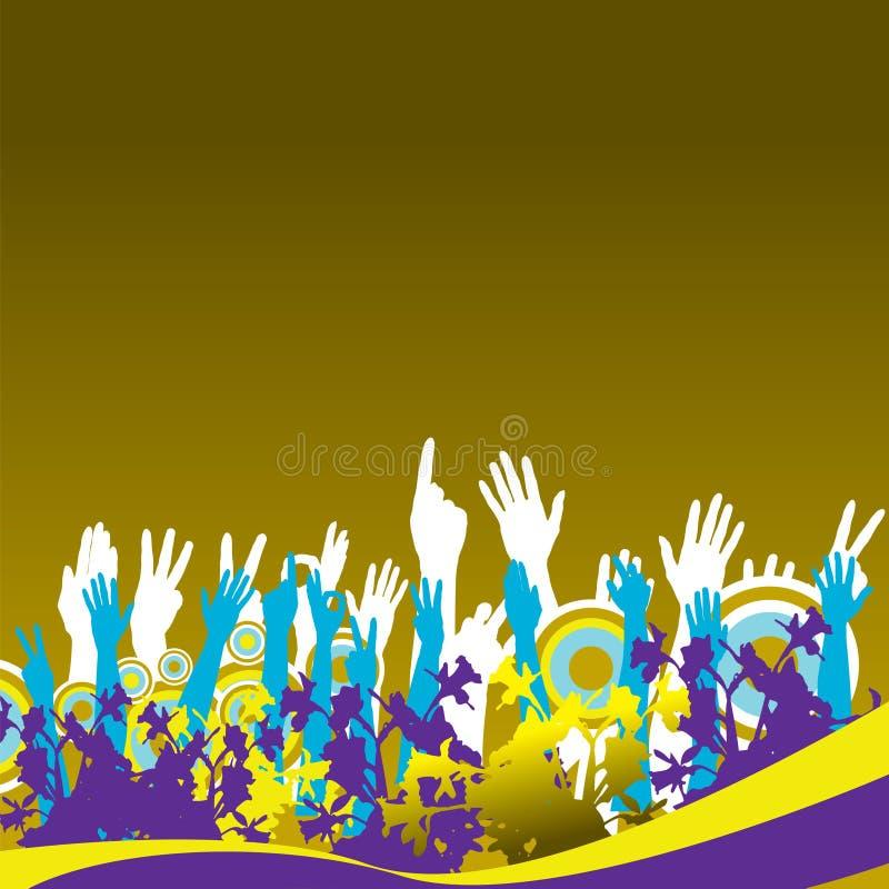 Golvende handenachtergrond stock illustratie