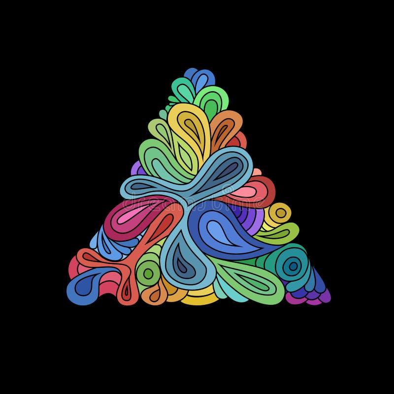 Golvende hipsterdriehoek Hand-drawn driehoek van golven en krommen op zwarte wordt samengesteld die Retro malplaatje van het hips stock illustratie