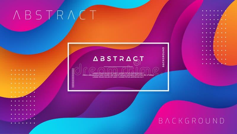 Golvende kleurrijke achtergrond met 3D stijl Moderne vloeibare achtergrond Abstracte achtergrond met het mengen van roze, blauwe, vector illustratie