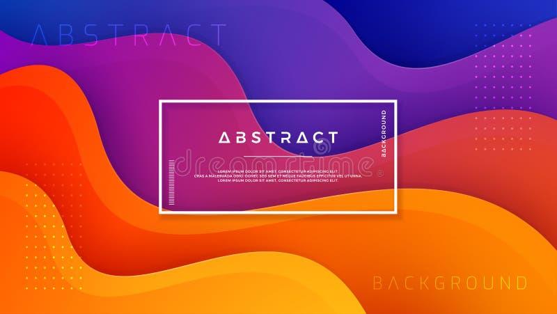 Golvende kleurrijke achtergrond met 3D stijl Moderne vloeibare achtergrond Abstracte achtergrond met het mengen van roze, blauwe, stock illustratie