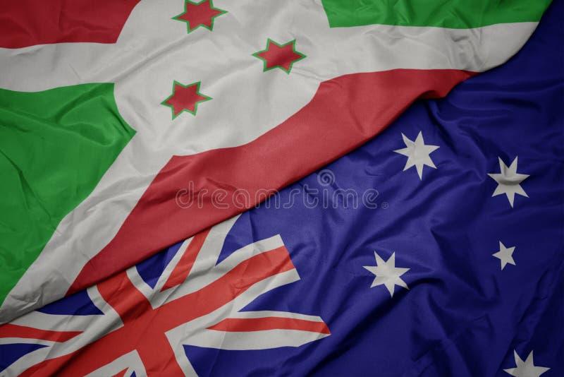 golvende kleurrijke vlag van Australië en nationale vlag van Burundi royalty-vrije stock afbeelding