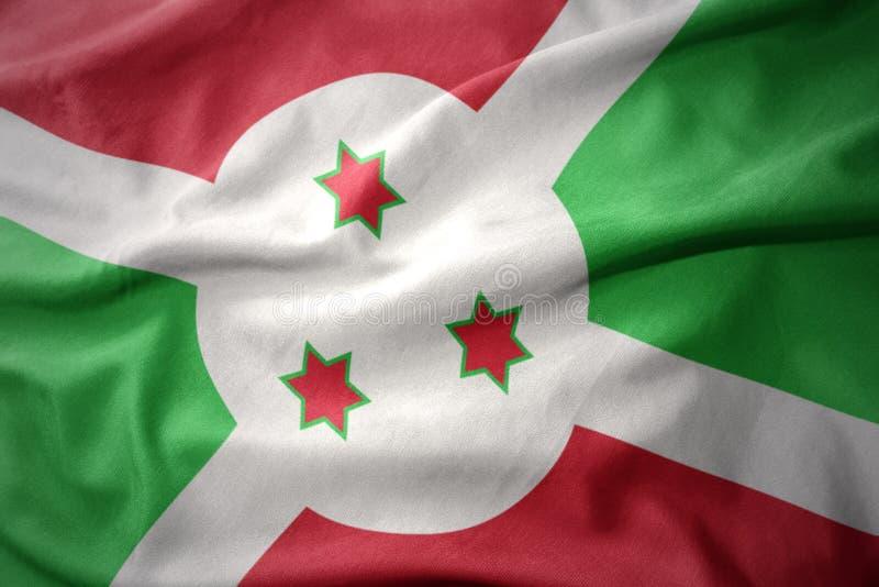 Golvende kleurrijke vlag van Burundi royalty-vrije stock afbeelding